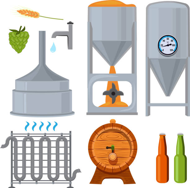equipment for the brewery. pictures in cartoon style - brewery tanks stock illustrations
