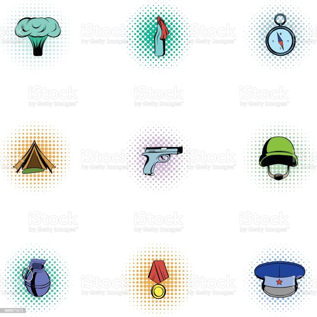 Ilustración de Equipo Para Conjunto De Iconos De Guerra Estilo ... c16d8dd8683