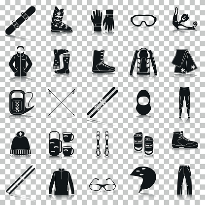 Equipment for winter sports. Silhouette icons with reflection on transparent background