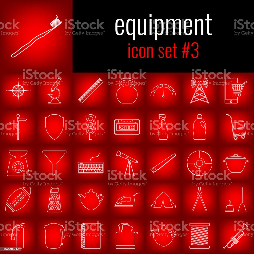 Equipment. Icon set 3. White line icon on red gradient backgrpund. vector art illustration