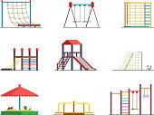 Equipment of amusement park. Playground isolated on white background