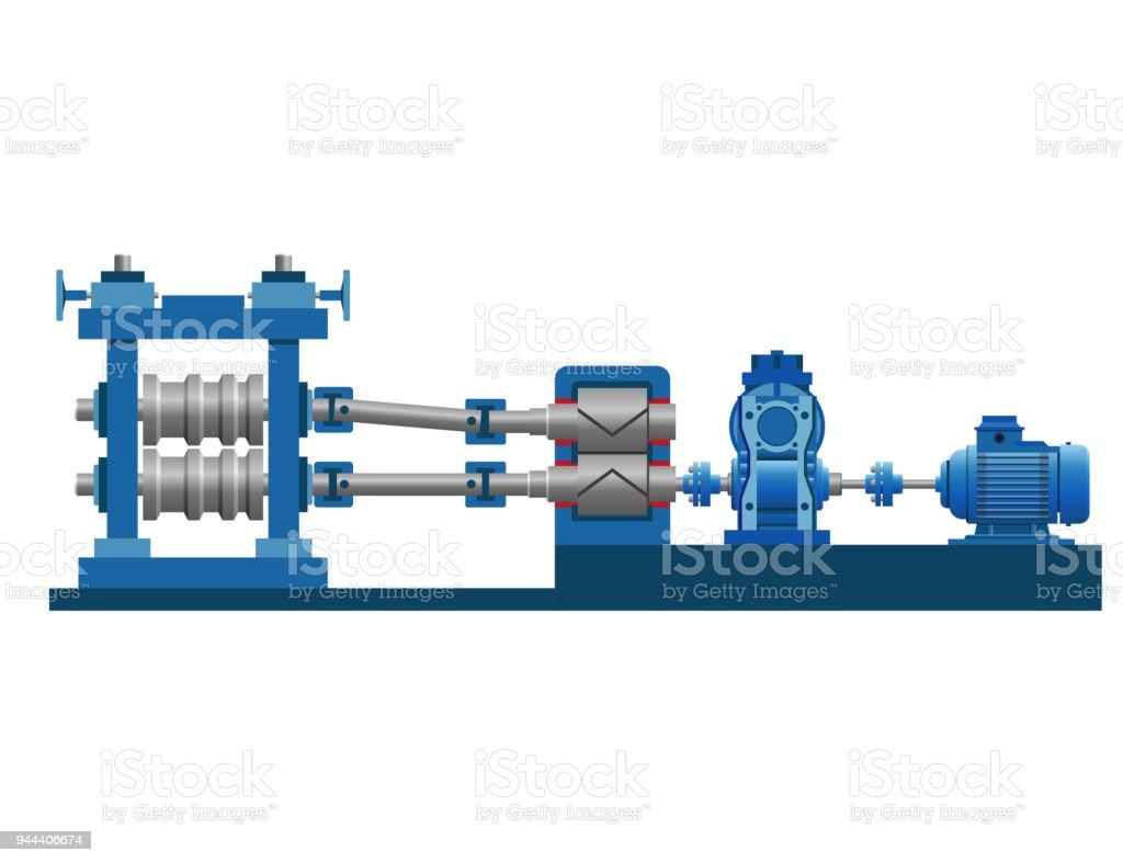 Equipment of the rolling mill vector art illustration