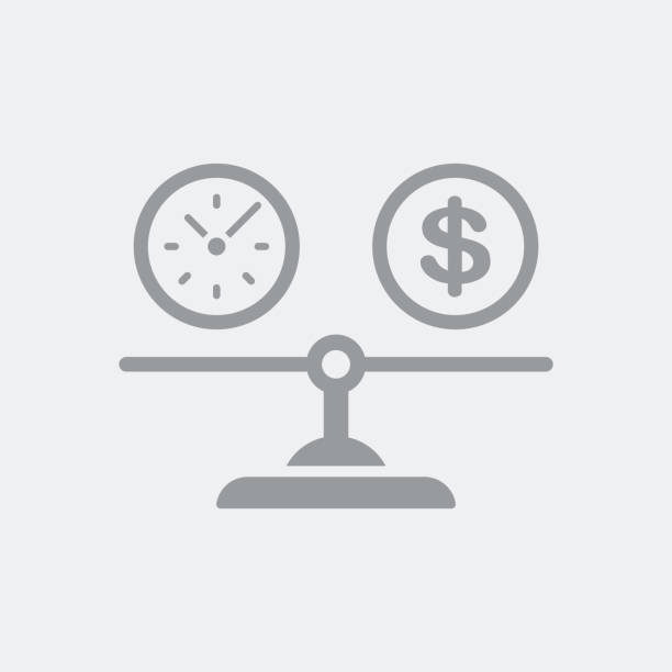 Equity between time and dollars cost Flat and isolated vector illustration icon with minimal and modern design balance stock illustrations