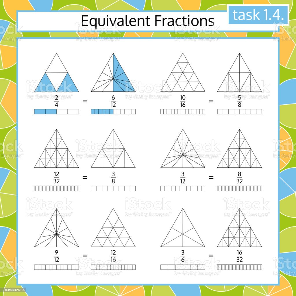 Equivalent Fractions Mathematical Worksheet Coloring Book Page Math ...