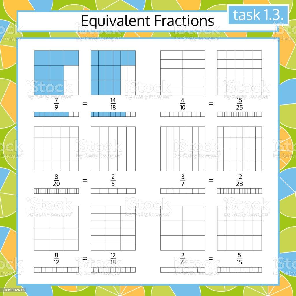 Ilustración De Hoja De Cálculo Matemático De Fracciones