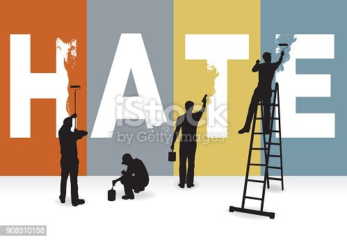 Eradicate Hate, Racism, Prejudice Concept Graphic, Billboard. Silhouette illustration of Four painters, painting over the word HATE.