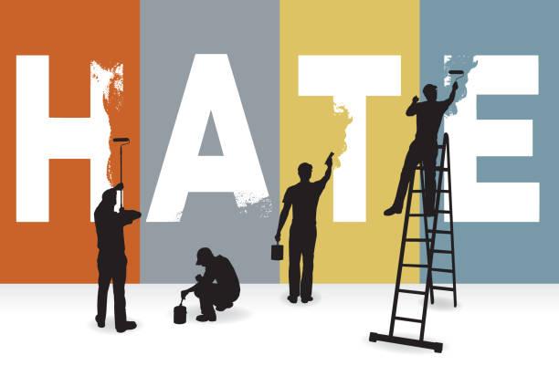 ilustrações de stock, clip art, desenhos animados e ícones de eradicate hate, racism, prejudice concept graphic, billboard - furioso