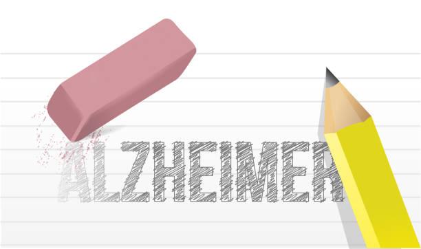 stockillustraties, clipart, cartoons en iconen met wis alzheimer. terug te brengen geheugen - absentie