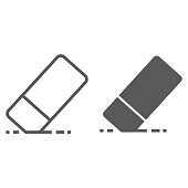 istock Eraser line and glyph icon, school and education, rubber sign vector graphics, a linear pattern on a white background, eps 10. 975667488