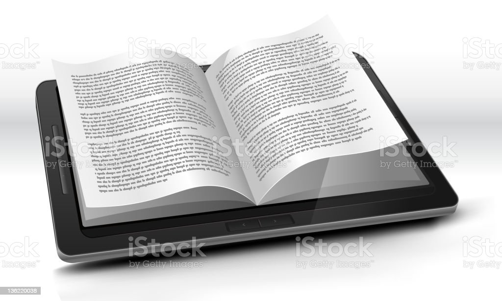 E-reader In Tablet PC royalty-free ereader in tablet pc stock vector art & more images of book