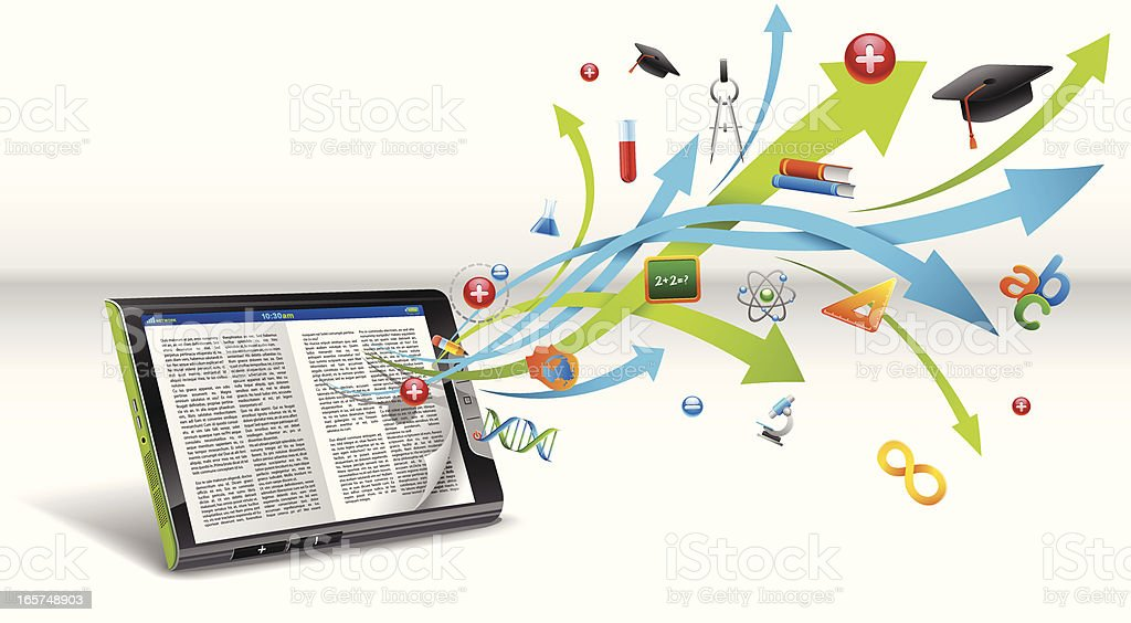 e-reader in touch tablet royalty-free stock vector art
