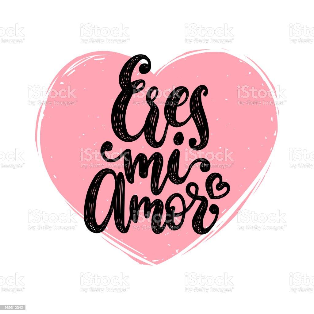 Eres Mi Amor Vector Hand Belettering Vertaling Uit Het Spaans Van