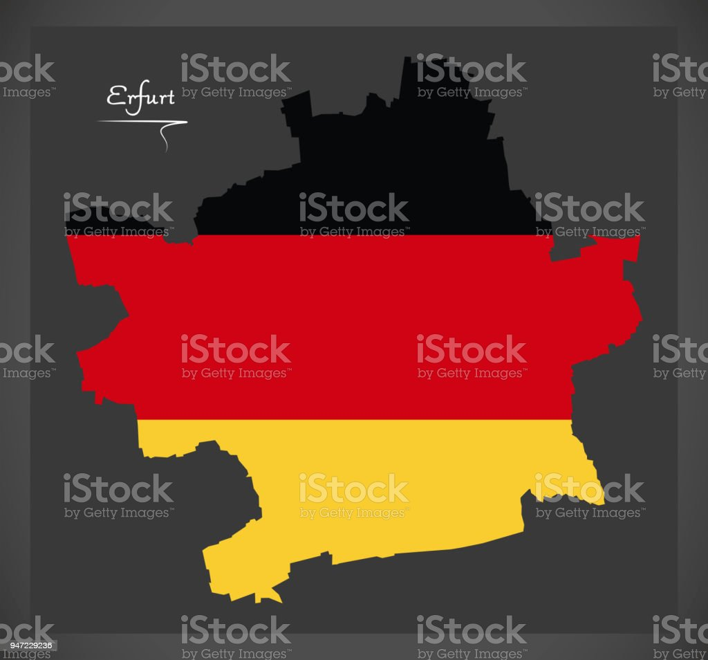 Erfurt map with German national flag illustration vector art illustration