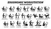 istock Ergonomic computer desk, workplace, and workstation. 1187320494
