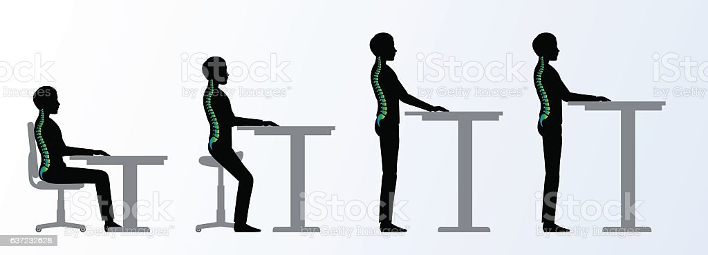 ergonomic. Height adjustable desk or table poses vector art illustration