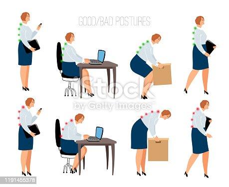 istock Ergonomic woman postures 1191455378