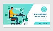 istock Ergonomic workspace and correct posture 1304726104