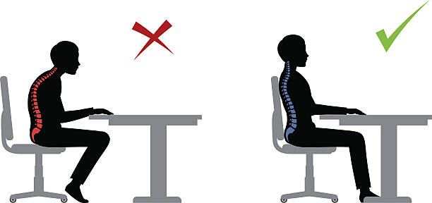 ergonomic. Wrong and correct sitting pose ergonomic. Wrong and correct sitting pose of a man near the table office chair stock illustrations