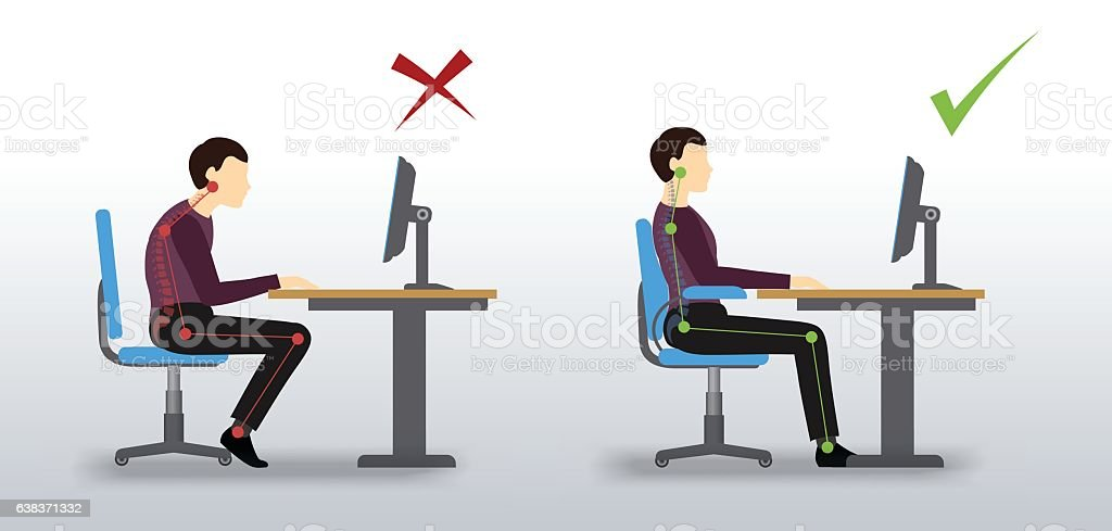 ergonomic. Wrong and correct sitting posture vector art illustration