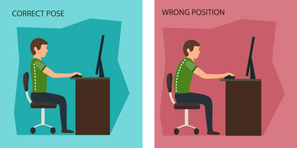bildbanksillustrationer, clip art samt tecknat material och ikoner med ergonomiska. fel och korrigera sittställning. - loin