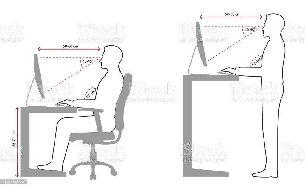 Ergonomie Am Arbeitsplatz Strichzeichnung Stock Vektor Art Und Mehr