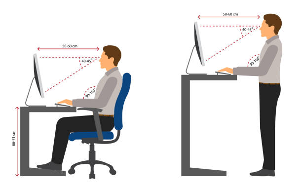 Ergonomics at workplace Correct sitting and standing posture when using a computer accuracy stock illustrations