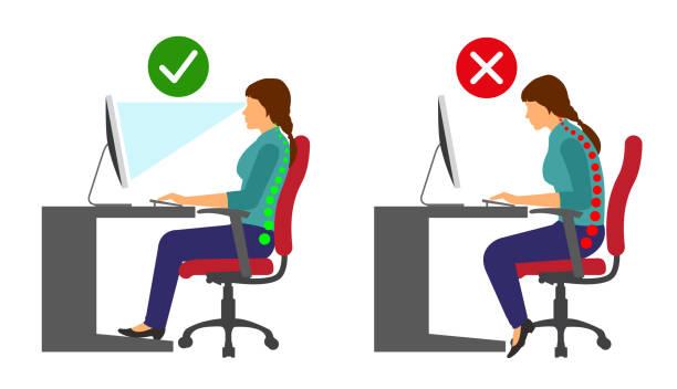 Ergonomics - Correct and incorrect sitting posture when using a computer Ergonomics - Correct and incorrect sitting posture when using a computer good posture stock illustrations