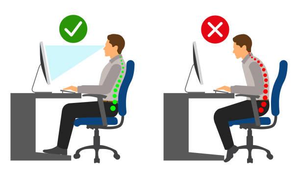 Ergonomics - Correct and incorrect sitting posture when using a computer Ergonomics - Correct and incorrect sitting posture when using a computer posture stock illustrations