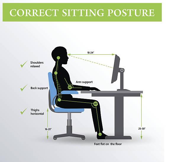 Ergonomics. Correct sitting posture Office ergonomics. Correct sitting posture of a man near the computer posture stock illustrations