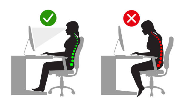 Ergonomics - Silhouette of correct and incorrect sitting posture when using a computer Ergonomics - Silhouette of correct and incorrect sitting posture when using a computer good posture stock illustrations