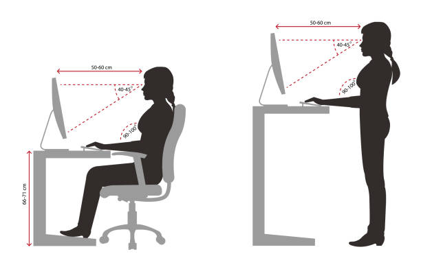 Ergonomics woman silhouette correct sitting and standing posture when using a computer Ergonomics woman silhouette correct sitting and standing posture when using a computer posture stock illustrations