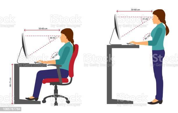 Ergonomiefrauen Richtig Sitzen Und Stehen Körperhaltung Bei Verwendung Eines Computers Stock Vektor Art und mehr Bilder von Anatomie