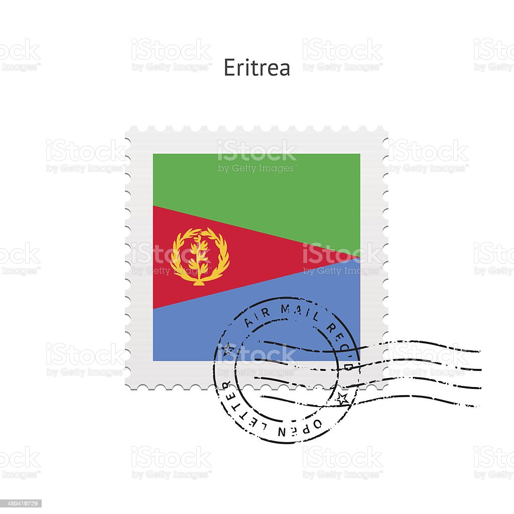 Eritrea Flag Postage Stamp royalty-free stock vector art