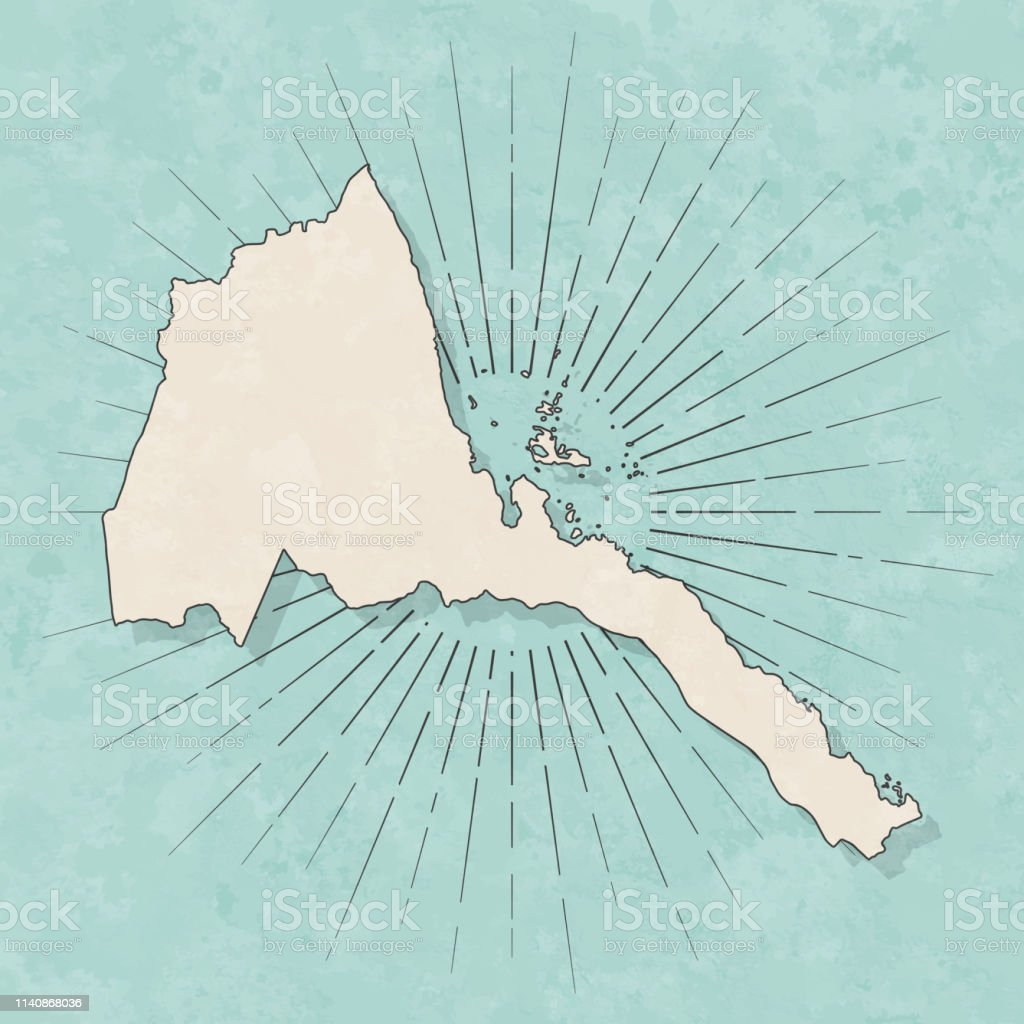 Map of Eritrea in a trendy vintage style. Beautiful retro...