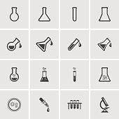 Erlenmeyer flasks flask tube icons. Vector illustration.
