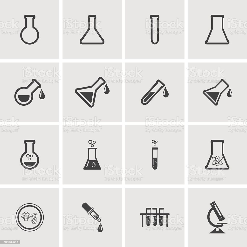 Erlenmeyer flasks flask tube icons. Vector illustration. vector art illustration