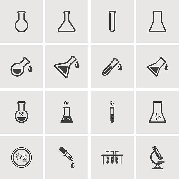 erlenmeyer flasks flask tube icons. vector illustration. - becherglas stock-grafiken, -clipart, -cartoons und -symbole