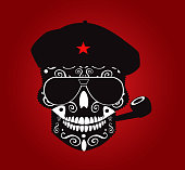 Ernest Che Guevara skull vector with pipe and hat