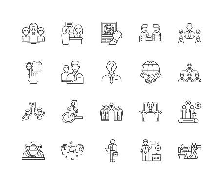 Errand service line icons, signs, vector set, outline illustration concept