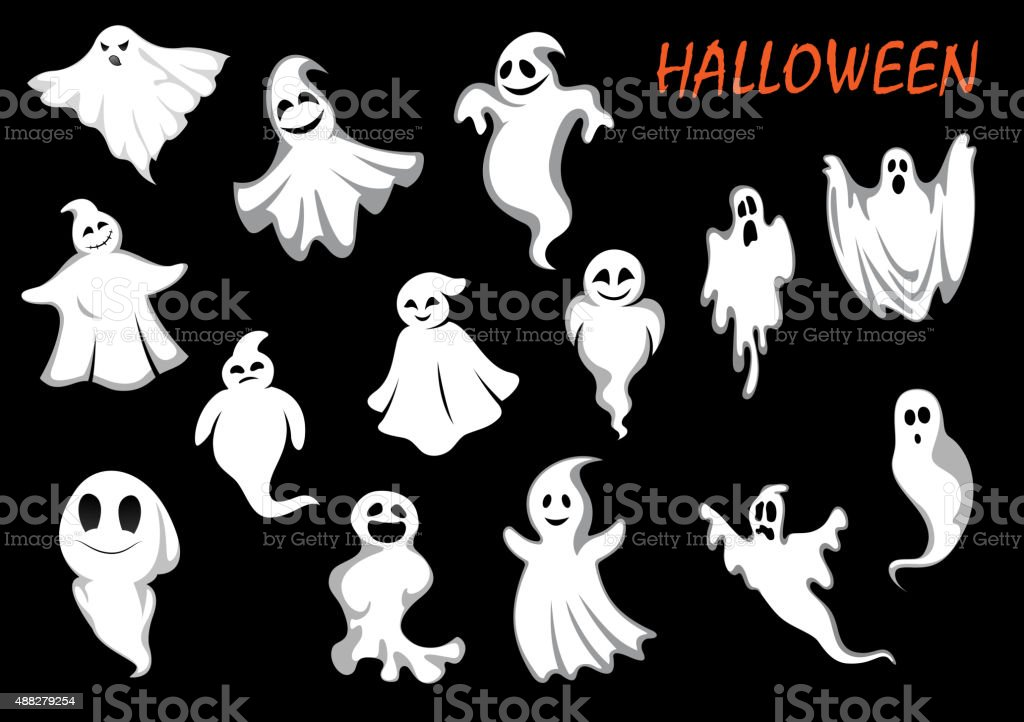 Errie and funny flying ghosts vector art illustration