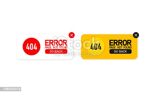istock Error 404 icon set. Page not found. Message about a problem. Warning. Vector on isolated white background. EPS 10 1280345319