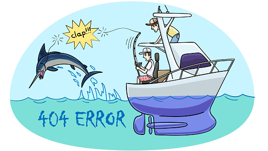 Error 404. Illustration for an Internet site page with a marine theme.