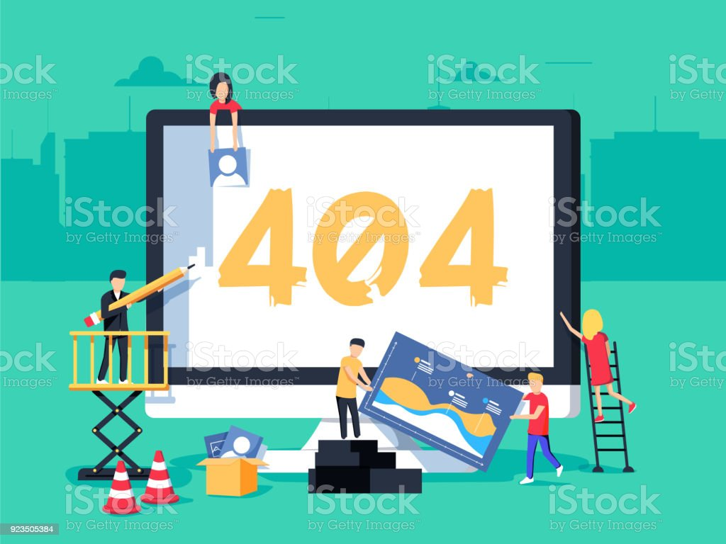 Error 404 page. Builders, repair, crane, site. Flat vector illustration in cartoon style. vector art illustration