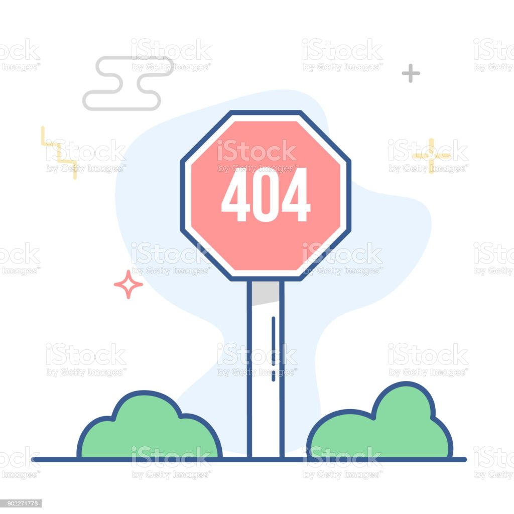 Error 404 Page Linear Illustration Page Not Found Message