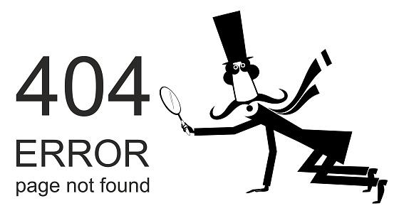 Error 404 page not found concept illustration, webpage banner