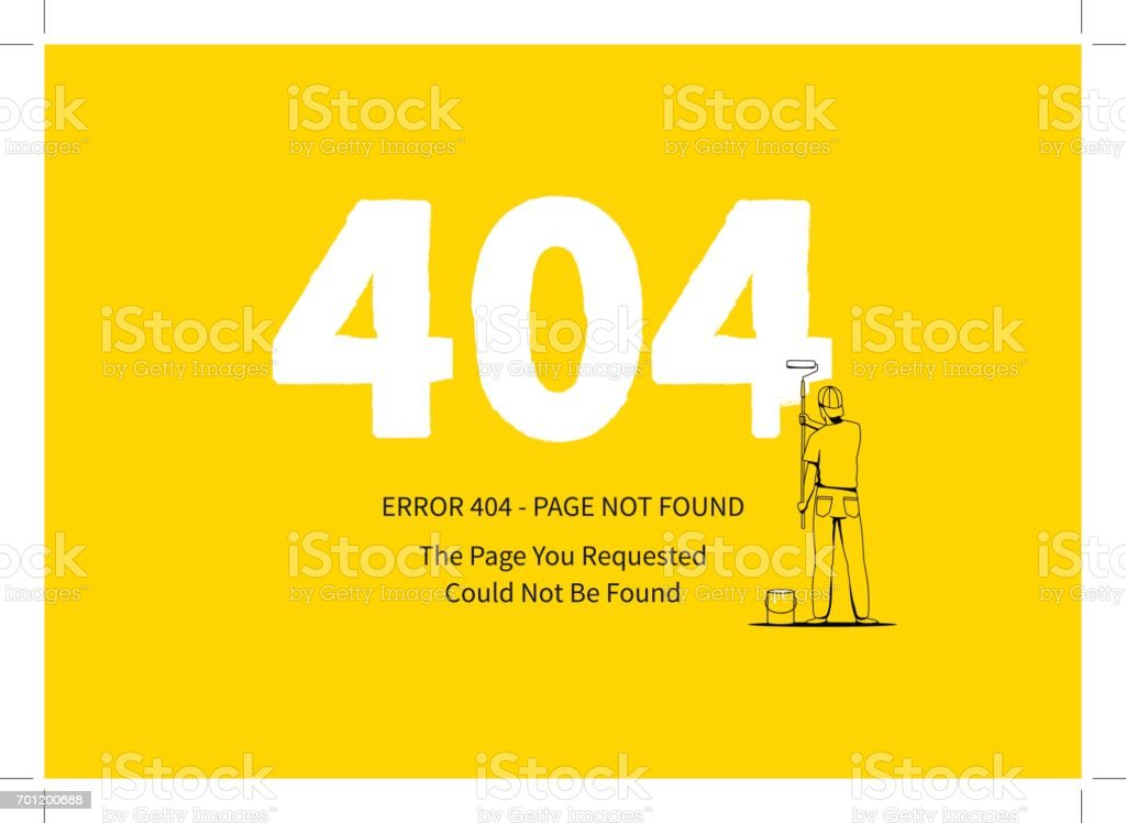 Error 404 page with a painter vector illustration vector art illustration