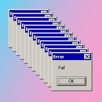Error fail pop up banner vintage vaporwave aesthetic concept. Vector illustration