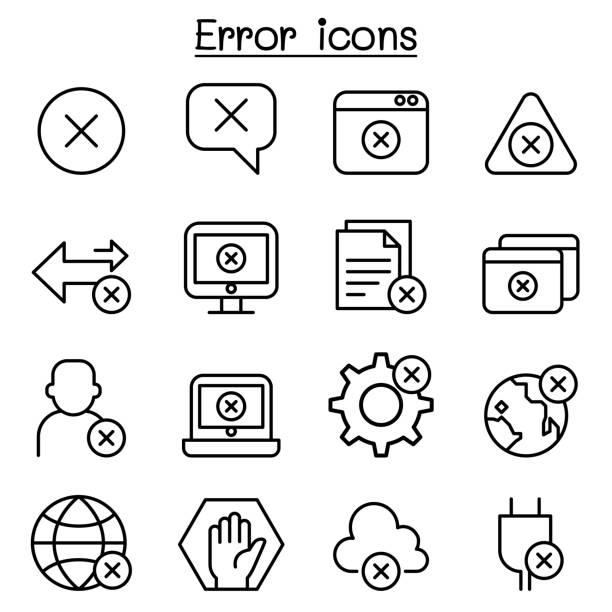 Error icon set in thin line style Error icon set in thin line style mistake stock illustrations