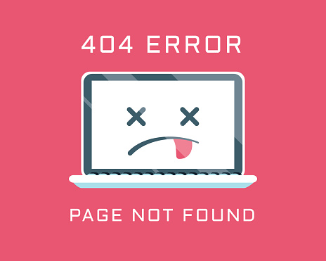 404 error like laptop with dead emoji. cartoon flat minimal trend modern simple logo graphic design isolated on red background.
