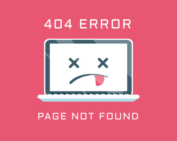 404 error like laptop with dead emoji. cartoon flat minimal trend modern simple logo graphic design isolated on red background. - lost stock illustrations